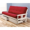 Monterey Frame/Antique White Finish/Suede Red Mattress/Storage Drawers