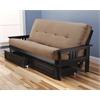 Monterey Frame/Black Finish/Suede Peat Mattress/Storage Drawers