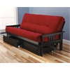 Monterey Frame/Black Finish/Suede Red Mattress/Storage Drawers