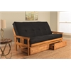 Monterey Frame/Butternut Finish/Suede Black Mattress/Storage Drawers