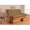 Monterey Frame/Butternut Finish/Suede Olive Mattress/Storage Drawers