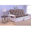Phoenix Frame/Antique White Finish/Fairbanks Evergreen Mattress/Storage Drawers