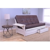 Phoenix Frame/Antique White Finish/Palance Sable Mattress/Storage Drawers