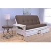 Phoenix Frame/Antique White Finish/Suede Chocolate Mattress/Storage Drawers