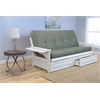 Phoenix Frame/Antique White Finish/Suede Olive Mattress/Storage Drawers