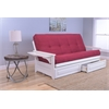 Phoenix Frame/Antique White Finish/Suede Red Mattress/Storage Drawers