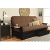 Phoenix Frame-Black Finish-Linen Cocoa Mattress-Storage Drawers