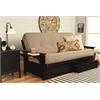 Phoenix Frame-Black Finish-Linen Stone Mattress-Storage Drawers