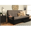 Phoenix Frame-Black Finish-Suede Gray Mattress-Storage Drawers