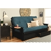 Phoenix Frame-Black Finish-Suede Navy Mattress-Storage Drawers