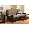 Phoenix Frame-Espresso Finish-Suede Gray Mattress-Storage Drawers