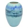 Three Hand Ceramic Vase - Blues And Greens