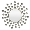 Metal Antique Silver Metal Jeweled Decorative Mirror