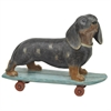 Dog Figurine Skateboarding Dashund