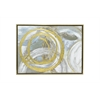 Framed Embellished Canvas Oil Painting - Abstract Gold And Silver Circles