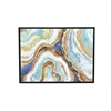 Framed Embellished Canvas Oil Painting - Blue And Gold Agate Inspired Abstract