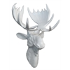 Three Resin White Gloss Moose Head Wall Decor