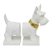 Resin Scottie Dog Bookend - White With Gold Collar