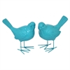 Resin Bird Figurine Set Of Two - Blue