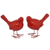 Resin Bird Figurine Set Of Two - Red