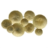 Gold Textured Metal Discs Wall Sculpture - Small