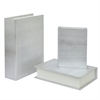 Wood Book Box Set Of Three - Silver Snakeskin Finish