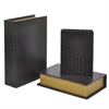 Wood Book Box Set Of Three - Black Alligator Finish
