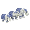 Elephant Table Top Dcor Set Of 3 Blue And White