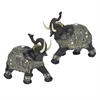 Resin Elephant Set Of 2 - Brown And Gray