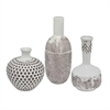 Set Of Three Vase Set With Tribal Geometry Embossed Designs