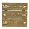 Wood Wall Dcor With Metal Inspirational Arrows In Gold And Copper