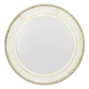 Round Wood Mirror With Beaded Detail.  Distressed Off-White Finish