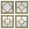 Wood Wall Mirrors Set Of 4 Geometric Overlays
