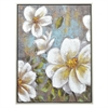 White Floral Painting In A Champagned Finished Wood Frame