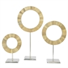 Contemporary Ring Dcor Set Of Three.  Ivory Marble Look Finish On Aluminum Stand