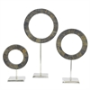 Contemporary Ring Dcor Set Of Three.  Slate-Look Finish With Aluminum Base