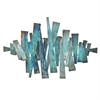 Abstract Metal Slats Wall Dcor - Blues