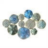 Circular Cluster Metal Wall Decoration In Blues And Greens