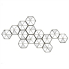 Hexagon Cluster Metal Wall Mirror With Mirror Accents