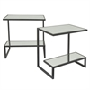 Rectangular 2 Tier Metal Mirror Top Table S/2 - Black