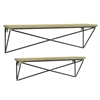 Three Hand Wood Wall Shelf Set With Black Metal Base