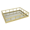Gold Finished Metal Tray With Antique Mirror