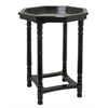 Wood Side Table In Gloss Black