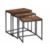 "Set of 3 Nesting Tables H23.5/21.5/19.5"", Black/Brown"