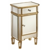 "One Drawer One Door Cabinet H29.50"", Mirror/Gold"
