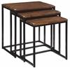"Set of 3 Nesting Tables H24/22/20"", Black Base / Brown Top"