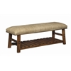 """Accent Bench H19.00"""", Brown Frame / Tan Fabric"""