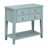 "Three Drawer Console Table H31.00"", Breakers Blue Rub"