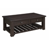"""Raleigh Two Drawer Cocktail Table H18.00"""", Raleigh Tobacco Brown"""