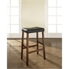 Upholstered Saddle Seat Bar Stool in Classic Cherry Finish with 29 Inch Seat Height. (Set of Two)